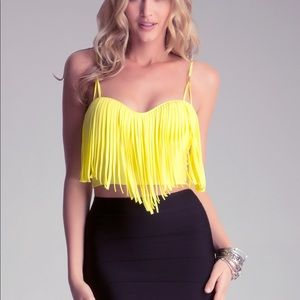 Bebe yellow fringed crop top